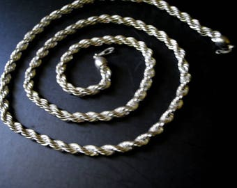 Industrial vintage 80s, 18k , white gold plated , chunky,rope, long chain, necklace.Mint condition.