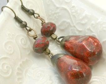 Ceramic Red earrings, Rustic Red Earrings, Casual Red Jewelry, Handmade Boho Earrings,  Modern Red Earrings, Gift for Her, Valentine Gift