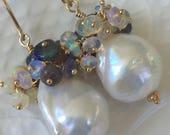 Baroque Pearl and Ethiopian Opal Earrings CUSTOM ORDER