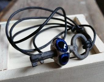 Royal Blue Eyeball Skeleton Key