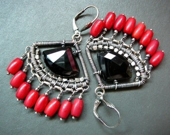 The black lotus egyptian earrings - sterling silver, black onyx and red coral chandelier earrings