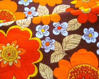 1970s Floral Cotton Barkcloth Fabric, Funky Fabric,  French Fabric, Brown And Orange Florals, Cushion Making, Unused Florals From France