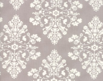 Lily Will Revisited Gray White Damask Medallion fabric | Moda fabric 2802 43 | Cotton Quilting fabric