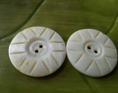 Vintage Buttons - Amazing mother of pearl, 2 large  matching  carved  design Victorian(feb 430  17)