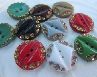 Vintage Button-  11 assorted colors, most are matching design 1940's beautiful glass buttons (oct 245)