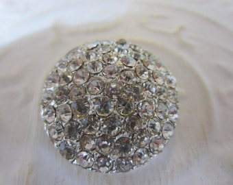 Vintage Button - 1 large beautiful design rhinestone embellished, antique silver finish metal (jan 177-17)