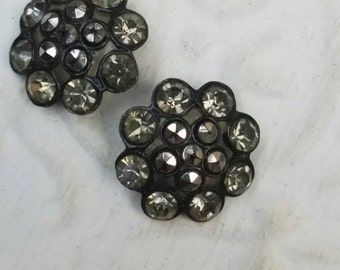 Vintage Button - 2 medium  matching flower design rhinestone embellished, dark antique silver finish metal (feb 47 17)