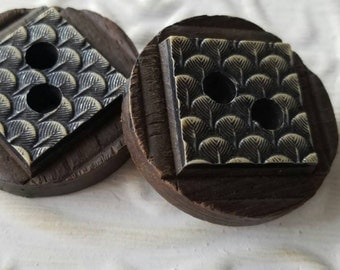 Vintage Buttons -2 large matching stacked  novely wood design 1940's-50's  (feb 333 17)