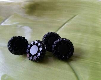 Vintage Buttons - lot of 4 matching small pressed  flower desig  Victorian jet black glass, design,  (feb 526 17)