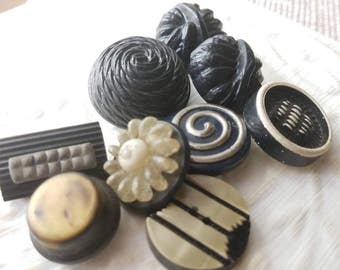Vintage Buttons -Mid Century Modern mix of celluloid lot of 9 black with some metal accents  and old and sweet( mar 291 17)