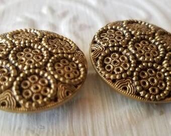 Vintage Buttons -2 wonderful large novelty metal filigree design Victorian,(may 114 17)