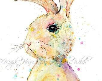 Bunny Art, Rabbit Art, Art Print, Watercolor Print, Animal Art, Nursery Art, Nursery Print, Happy Art, Home Decor, Majik Horse