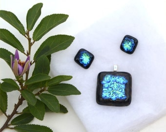 Dichroic fused glass pendant and earring set, squares, black back and blue green top