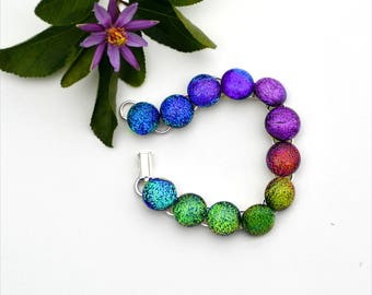 80 Rainbow fused dichroic glass link cabochon bracelet, round,