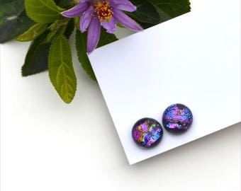 294 Fused dichroic glass earrings, round, sparkle, purple, green and blue