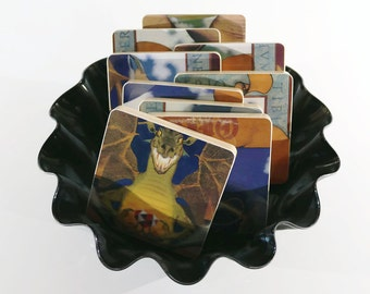 DIO handmade wood coasters and vinyl bowl created from recycled Sacred Heart record album