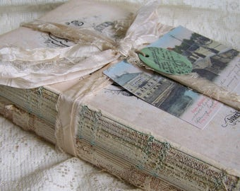 Altered Book Stack Vintage Book Bundle Altered Art Books Vintage Altered Art Vintage Home Decor  Aqua Shabby White Antique French Decor