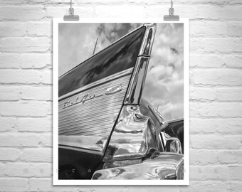 Old Car Photograph, Chevy Car Art, Tail Fins, Chevy Bel Air, Old Car Pictures, Chevrolet Bel-Air, Vintage Cars, Boyfriend Gift, Car Print