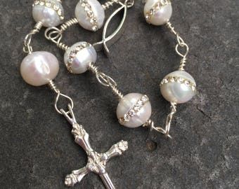 Cream Pearls Inlaid with Crystals Sterling Silver Anglican Chaplet  Protestant Prayer Beads        Episcopal Prayer Beads  Bridal Gift