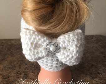 Messy bun hat... alpaca and wool messy bun hat... ready to ship... removable bow