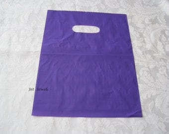 50 Plastic Glossy Bags, Gift Bags, Purple Plastic Bags, Merchandise Bags, Retail Bags, Shopping Bags, Favor Bags, Bags with Handles 9x12