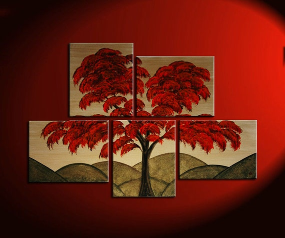 Vibrant Red Tree Painting Asymmetrical Layout Original Gold HUGE Modern Asian Abstract Wall Art Custom 56x40