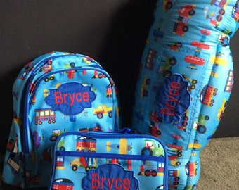 Boys Theme Nap Mat Backpack Lunch box set of 3 School Daycare Preschool Kindergarten Toddler Free Personalized