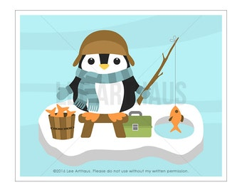 73A Penguin Print - Penguin Fishing Wall Art - Penguin Art - Fishing Decor - Fishing Print - Penguin Nursery Art - Fish Print - Ice Fishing