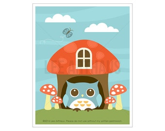 93A Woodland Nursery Decor - Mushroom House and Owl Wall Art - Owl Nursery Print - Owl Home Decor - Owl Illustration - Woodland Drawing