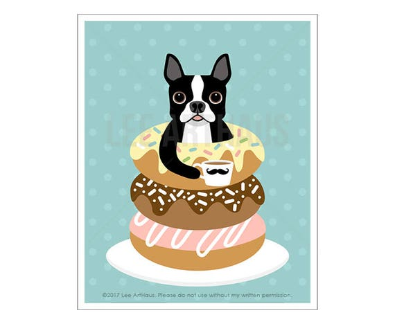 205D Dog Print - Boston Terrier Resting in a Stack of Donuts Wall Art - Funny Dog Art - Boston Terrier Print - Donut Art -  Art for Children