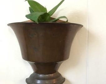 vintage copper wall pocket - metal wall planter - Regency style plant holder
