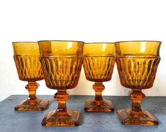 vintage amber glasses - Mount Vernon Indiana Glass - pedestal water goblet - jewel tone barware - boho wedding