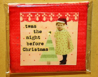Twas The Night Before Christmas Mini Canvas Magnet - Two Inch
