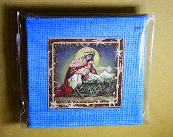 Mary and Baby Jesus Mini Canvas Magnet - Two Inch