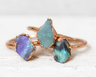Raw Opal Ring - Opal Engagement Ring - Natural Australian Opal Ring - October Birthstone - Raw Stone Engagement Ring - Raw Boho Crystal Ring