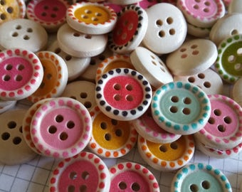 "Color Wood Buttons - Detailed Colored Wooden Sewing Button - 5/8"" Wide - 24 Buttons"