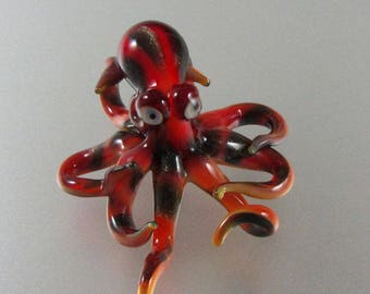 Lampwork-Beads-Spotted Octopus-Pendant-Figurine-Ocean Sealife-Handmade Lampwork Collectable Sculpture-Paperweight-Aquarium-RC Art Glass