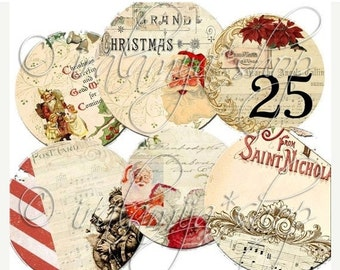 SALE PEPPERMINT TAgS collage Digital Images  -printable download file-