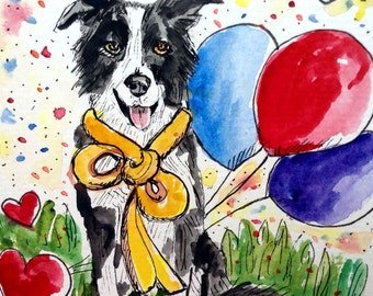 Border Collie Birthday Card, Hand Painted Card, Watercolor dog, Dog Painting, Dog Card, Original Watercolor, Dog Gifts, Handmade Card, Dogs