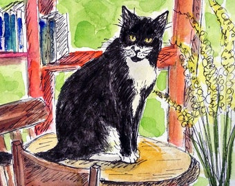 Coffee Shop Tuxedo Cat, Black and White Cat Card, Hand Painted Card, Cat Card, Cat Paintng, Original Watercolor, Cat Artwork, Yellow Flowers