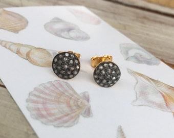 Pave Diamond Stud Earrings, Free Shipping
