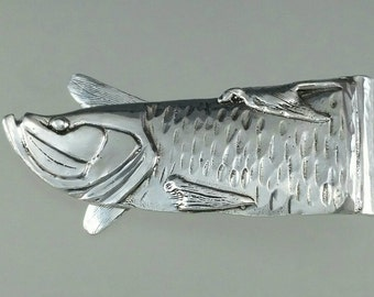 Silver Tarpon Fish Money Clip Hand Made Mens Wear