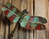 Dragonfly - large copper metal insect art sculpture - wall hanging - with jade blue-green and iridescent red patina - repurposed - OOAK