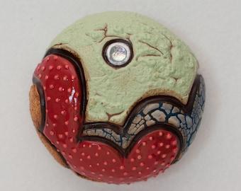 Mini Ceramic Sculpture - Abstract Sea Urchin, wall decor, wall hanging (L-02)