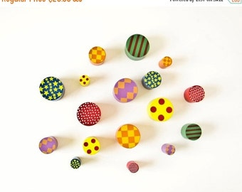 Sale Colorful Small Wood Cylinders, Craft Jewelry Supplies, Geometric Designs
