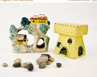 Sale Vintage Aquarium Decor - Tiny Houses - Bridge - Castle - Water Wheel