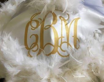 Second Line Umbrella Bride, 1 second line parade monogram three initials matte gold! Wedding Mardi Gras New Orleans, personalized Parasol