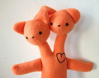 Orange Double Bear - Two Headed Teddy Doll - Handmade Mutant Plush Toy - Weird Stuffed Ugly Animal - Siamese Twin Friend - Gift with a Heart