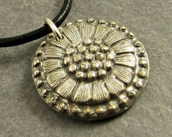 Flower Pendant, Fine Silver Necklace, PMC Jewelry, Sterling Silver Pendant Necklace, Gifts for Her