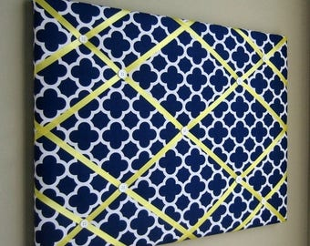 """On Sale 16""""x20"""" French Memory Board, Bow Holder, Bow Board, Vision Board, Photography Display, Ribbon Board,  Navy & Yellow Quatrefoil Memo"""